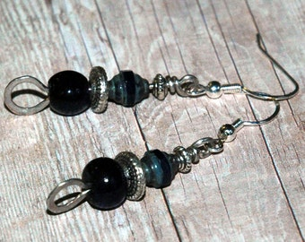 Navy Blue and Silver Drop Earrings, Casual Everyday Style, Hammered Metal, Vintage Glass Pony Bead, Czech Glass Accent, Earrings Under 20
