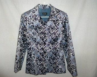 SALE Vintage BCBG MaxAzria Abstract Geometric Purple White  Black and Gray Blazer Jacket Coat