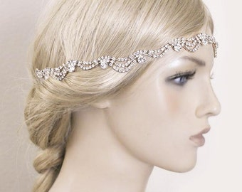 Rose Gold Bridal Headband, Wedding Headpiece, Rhinestone Wave Tiara , Hair Accessory, Prom Headband, Bridesmaid Headpiece-HA002
