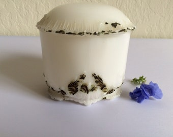 Antique Boudoir Glass Vanity Jar with Domed Lid by Dithridge & Company, Cold Painted Milk Glass Trinket Box