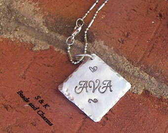 Sterling silver, Hand stamped jewelry, personalized, personalized jewelry, name necklace, mommy necklace,  personalized jewelry, handstamped