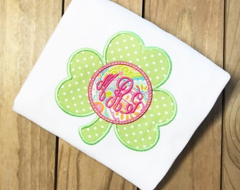 Girl Shamrock Shirt, Shamrock Appliqued Shirt, St. Patrick's Day Shirt, Monogrammed Shamrock, Appliquéd Shamrock, Lucky Appliquéd Shirt,