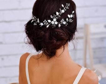 Wedding headpiece Bridal headband Wedding hair flower Bridal flower hairpiece Floral hair vine Wedding hair band Flower headband crystal