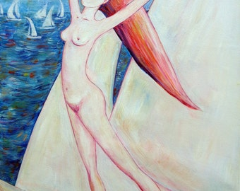 GIRL SAILING to the DREAM original oil painting on canvas home decoration white blue sea