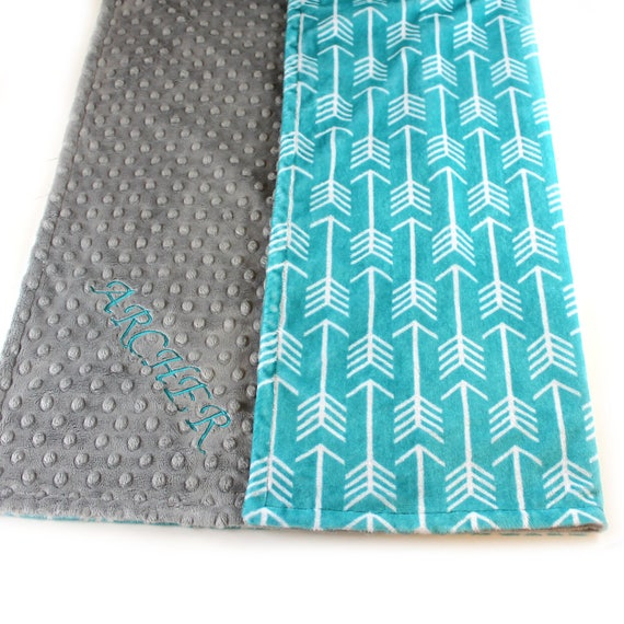 Todddler Blanket Teal Arrow, 48 x 60 in Personalized Blanket, Kids Minky Blanket Boy, Minky Throw Blanket, Teal Gray Arrow Blanket