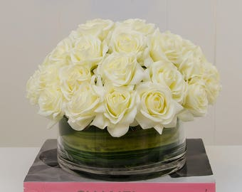 4 Dozens White Real Touch Rose Arrangement with Round Glass Vase Artificial Flowers Faux Arrangement Beautiful Centerpiece Floral