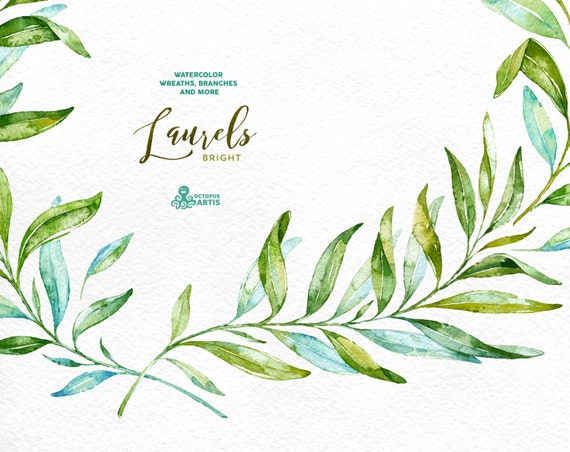 Laurels Bright. Watercolor wreaths, branches. Leaves, frames, green ...