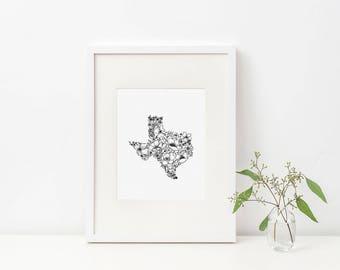 Texas Wildflower Digital Print, Hand Drawn Illustration, 100% Donated to Hurricane Harvey Relief