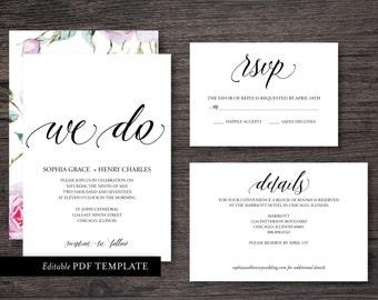 We Do Wedding Invitation Suite Template | PDF Editable Template | Editable Text | We Do Wedding Invite | Instant Download | Rustic Invite