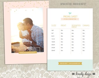 Price Sheet Pricing Template Flyer for Photographers Photography INSTANT DOWNLOAD