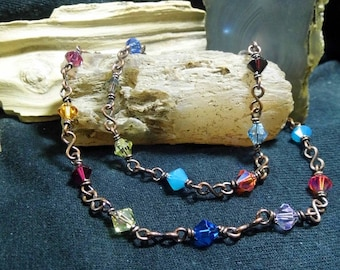 Rustic Sparkle Swarovski Crystal Antique Copper Super Long Layer Necklace Rosary Chain