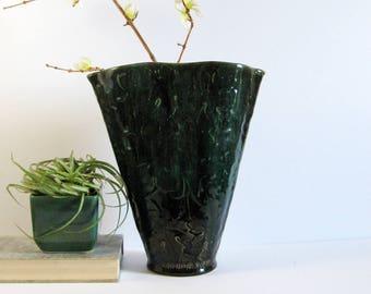 Vintage Tall Ceramic Flower Vase - Maple Leaf Design - Canadian Art Pottery with Dark Green Drip Glaze - Canada W31 - Mid Century Decor