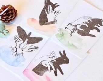 Toutes les occasions carte, peint, typographie, beaux animaux, marionnette à la main, luxe, carte de voeux à la main, main Carte Aquarelle peint x4