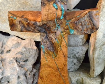 Wooden Mantel Cross; Solid Mesquite; Turquoise Inlay; Stand-up Cross; Cabin Decor; Rustic Home Decor; Texas Made; Cross Decor; ccSU-1041118