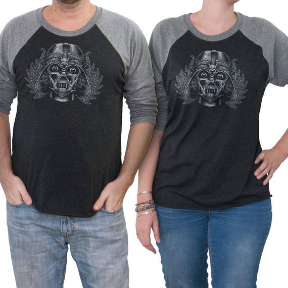 Star Wars Unisex T-shirt - Darth Vader wearing a Indonesian mask - Hand Screen Printed on a Unisex Baseball Tee