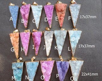 Blue Pink Purple Druzy Agate Triangle Pendant 17x37mm- 22x41mm - Gold plated- #29