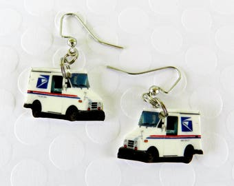 Mail Trucks Dangle Hook Earrings Perfect Novelty Gift Jewelry Mailman Mail Carrier Postman Postal Gift