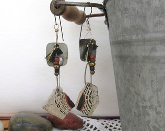 Chronic Memoirs: tribal earrings with 2 ancient pieces of Anazasi pottery !!!!!