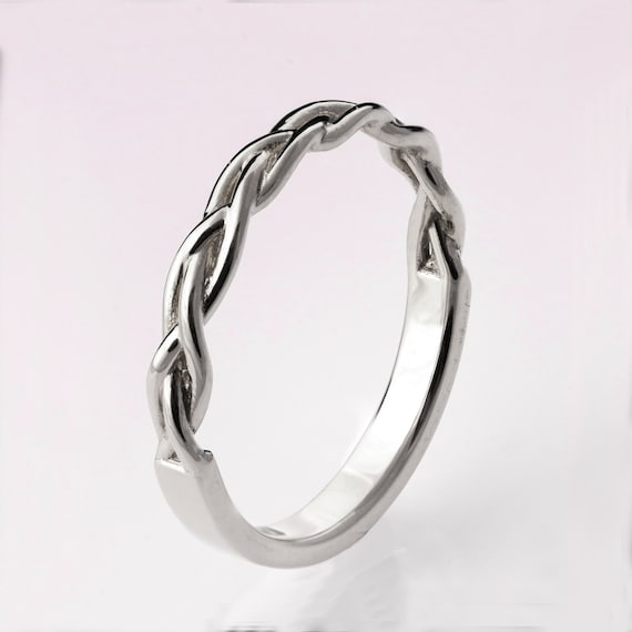 Braided Ring White Gold Stackable Ring Wedding Band 14K