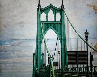 Portland Oregon Photo | St. John's Bridge | Portland Bridges | Bridgetown | Lomography | Distressed Texture | Green