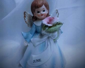 Vintage Lefton Collectible June Birthday Angel Hard to Find
