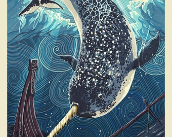 Narwhal - Letterpress (Art Prints available in multiple sizes)