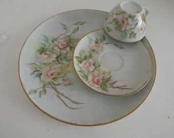 Vintage Hand Painted Limoges, Dinner Plate, Cup & Saucer, Romantic Pink Roses, Signed By Artist, Shabby Chic, Circa 1920