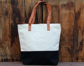 Personalized Canvas Striped Tote Bag -  Black Canvas Tote Bag