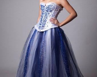 Custom Swarovski Sapphire Crystal Wedding Prom Dress Evening Blue and White Gown Crystal Corset
