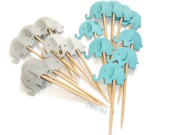 Mixed Bright Blue & Grey Elephant Cupcake Toppers, Food Picks-Set of 12pcs, 24 pcs