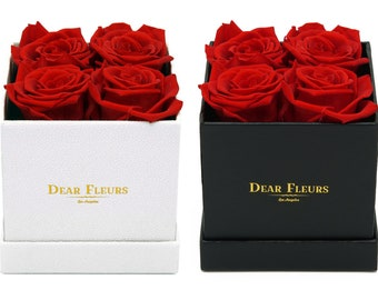DearFleurs Handmade Preserved Flower Small Square 4 Roses WHITE/BLACK BOX, Eternity Rose, Gift for Valentine's Day, Anniversary Birthday