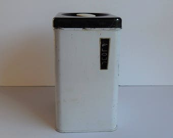 White and Black Flour Canister by Lincoln Beauty Ware