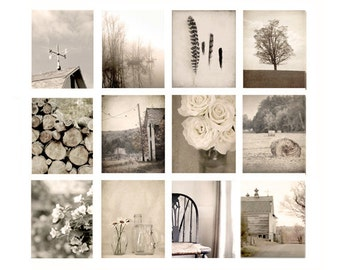 Wall Art Photo Set or 12 prints, farmhouse photography, rustic decor, fine art photography, cottage chic, brown, photography, art print