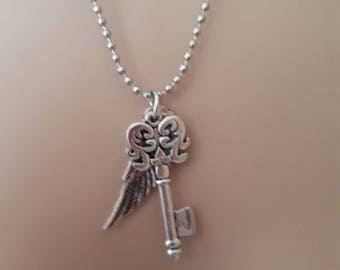 Silver key wing necklace love