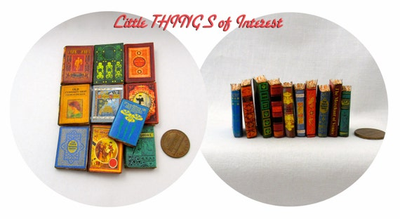 1:6 Scale VINTAGE STYLE BOOKS Set of 10 Prop Books Miniature Book Play Scale Faux Books
