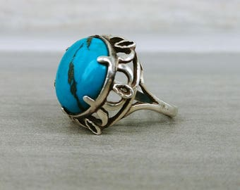 Gorgeous Vintage Sterling Silver FIligree & Round CabochonTurquoise Ring Size 6