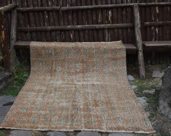 Free Shipping!5.3x7.1 ft Vintage Rug Turkish Rug Handmade Turkish Rug Anatolian Rug Turkish Carpet Faded muted colored decorative rug  H-281