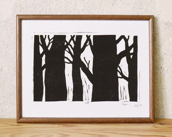 forest 1 · original linocut · Limited Edition · DIN A5