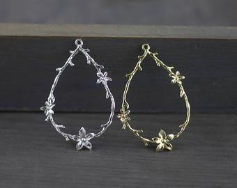 2pcs Silver Teardrop Pendant,Filigree Chandelier Earring Charms,Gold Plated Teardrop,23x36mm