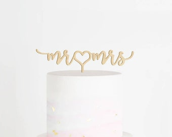 Mr & Mrs Cake Topper, Wedding Cake Topper, Mr and Mrs Cake Topper, Heart Cake Topper, Engagement Cake Topper, Script Cake Topper