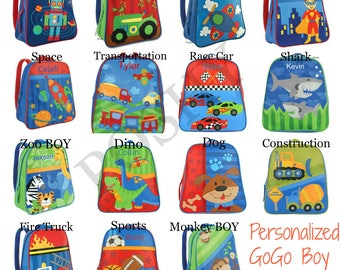 Monogrammed Stephen Joseph GOGO Backpack / Children and Kids Backpack / Personalized / Choose from 30 Patterns / Boys and Girls