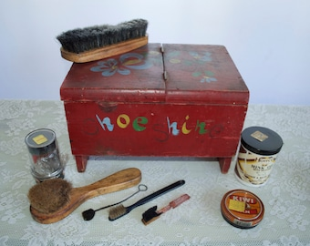 Cutest Vintage Shoe Shine Kit ever! Totally, stocked and you are ready for business. Go Get Your Shinebox!
