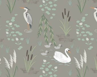 Down by the river, swan and heron fabric by Lewis & Irene, fat quarter