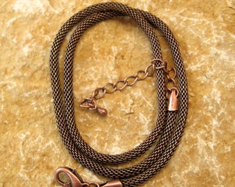 18 Inch Copper Plated Mesh Necklace, Copper Mesh Choker
