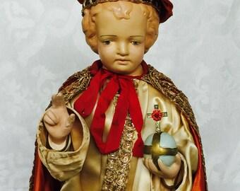 Antique Infant Jesus of Prague Statue Fabulous Unique Special 1950s