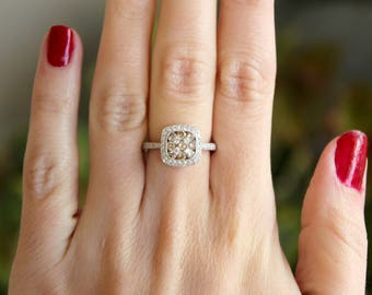 18k White Gold Champagne and White Diamond Ring engagement ring