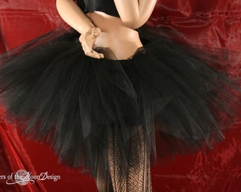 Tulle TUTU skirt  Adult Jet Black three layers dance petticoat skirt Extra puffy halloween goth event -You Choose Size - Sisters of the Moon