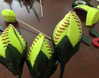 Softball rosebuds made from real softballs