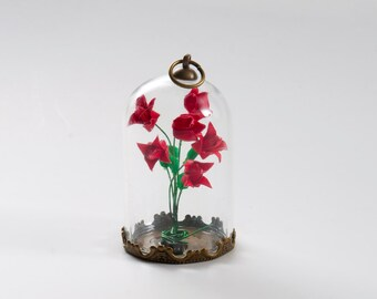 Pendant origami paper roses bouquet in small glass globe -MADE TO ORDER