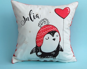 Valentines Day Gift for Girl, Personalized Baby Pillow, Penguin Pillow, Heart Pillow, Personalized Pillowcase, Personalized Pillow
